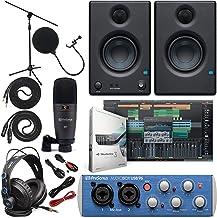 "Presonus AudioBox 96 رابط صوتی کامل بسته نرم افزاری استودیو با استودیو یک بسته نرم افزاری نرم افزار هنرمند w / Eris 3.5 Pair Studio Monitor و 1/4 ""TRS به TRS Instrument Cable"