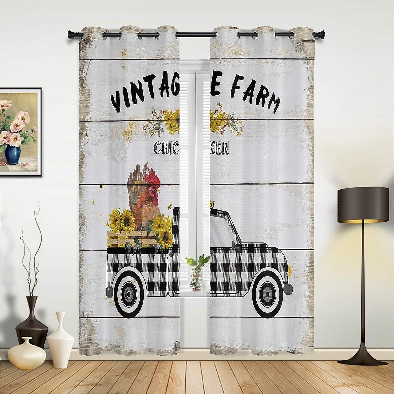 Window Curtains Ranking TOP18 Drapes Panels Max 75% OFF Retro Truck Farm Ch Sunflower Load