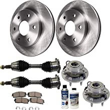 Detroit Axle - 10PC Front Wheel Bearing & Hubs, Disc Brake Rotors, Front CV Axle Shafts w/Ceramic Pads and Brake Cleaner Fluid for Chevy GMC Tahoe Suburban Sierra 1500 Avalanche Yukon 4x4 AWD Models