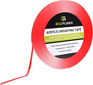 """Eco-Fused Acrylic Mounting Tape - 1/4"""" x 12.6 Yards - Ultra Strong Double-Sided Adhesion - Transparent - Removable - Easy ..."""