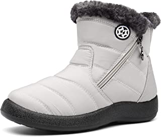 Gaatpot Zapatos Invierno Mujer Botas de Nieve Forradas Zapatillas Botines Planas con Cremallera 35.5-42