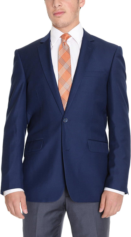 Raphael Regular Fit Solid Blue Two Button Blazer Suit Jacket