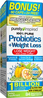 Purely Inspired Probotics + Weight Loss Tablets, Probiotic / Prebiotic Formula with Green Coffee & Garcinia Extract, 84 Chewable Tablets