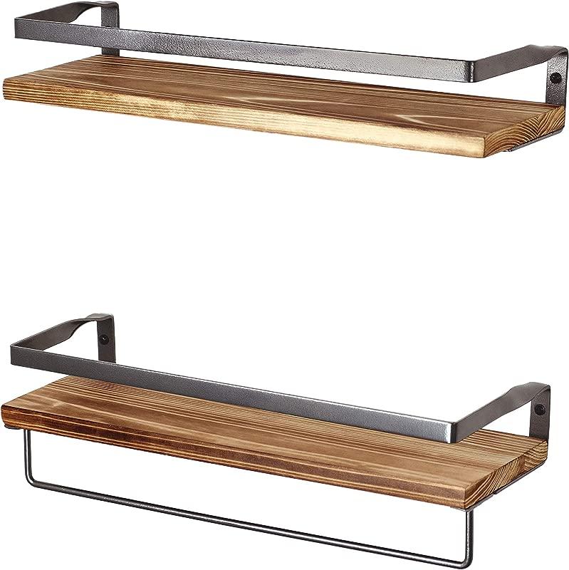 PETER S GOODS Rustic Floating Wall Shelves With Rails Decorative Storage For Kitchen Bathroom And Bedroom Elegant Modern Shelving Torched Fir Wood Black Silver Metal Frame Set Of 2