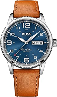 Hugo Boss Men'S Blue Dial Brown Leather Watch - 1513331