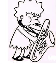 RUB ON STICKER - The Simpsons Lisa Saxophone Sax Decal SB43