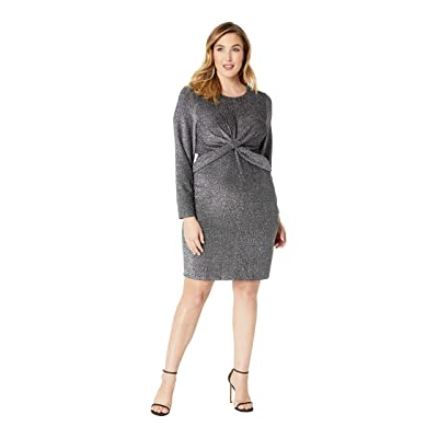 MICHAEL Michael Kors Plus Size Twist Waist Long Sleeve Dress (Black/Silver) Women
