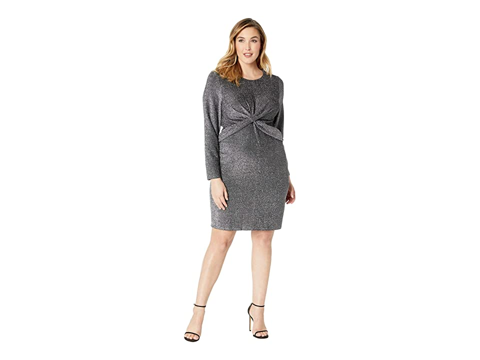 MICHAEL Michael Kors Plus Size Twist Waist Long Sleeve Dress (Black/Silver) Women