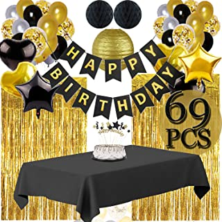 Funnlot Black and Gold Party Decorations Black and Gold Party Supplies Including Happy Birthday Banners Black and Gold Balloons Pom Poms Flowers Black and Gold Tablecloth Black and Gold Party Decor(69PCS)