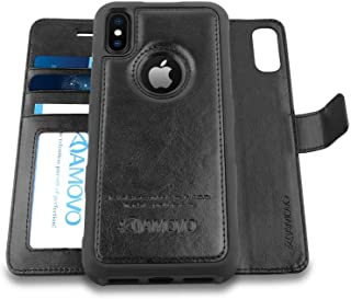 Amovo Case for iPhone Xs/iPhone X (5.8'') [2 in 1] iPhone Xs Wallet Case [Detachable Folio] [Vegan Leather] [Wrist Strap] iPhone X Flip Case with Gift Box Package (c)
