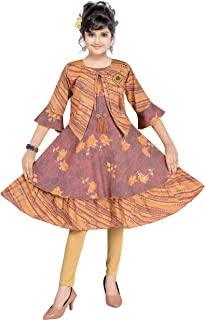 Fashion Kit Summer Regular Fit Kids Girls Frock Knee Length Dress with Leggings