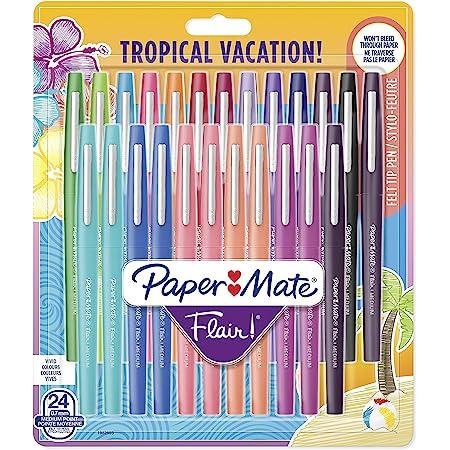 Paper Mate Flair Feutres de Coloriage, pointe moyenne (0,7mm), couleurs tropicales et assorties, Lot de 24