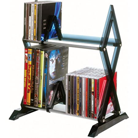 Atlantic Mitsu 2-Tier Media Rack - 52 CDs or 36 DVD/BluRay/Games in Clear Smoke Finish, PN64835193