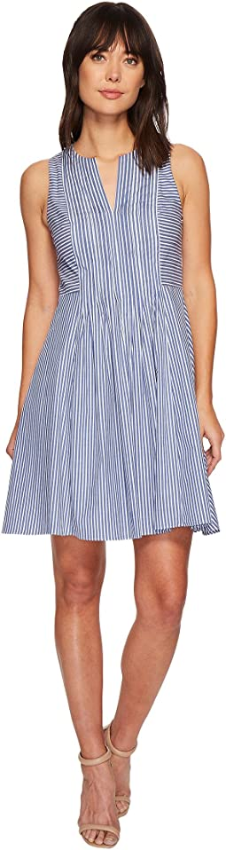 Sleeveless Pinstripe Pintuck Dress