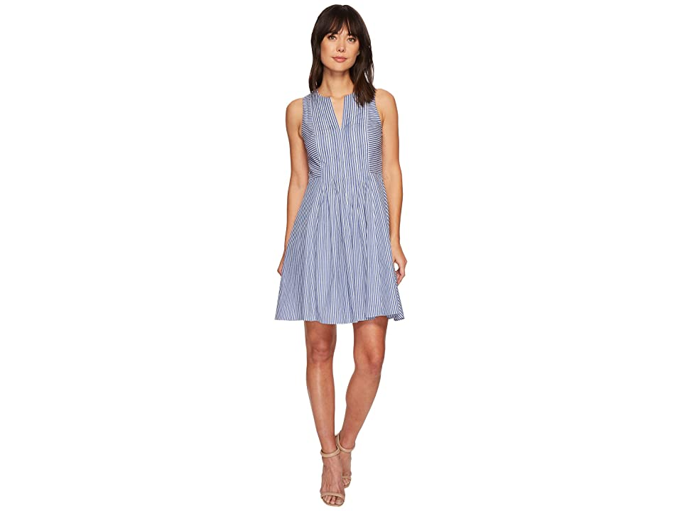 CeCe Sleeveless Pinstripe Pintuck Dress (Deep Sapphire) Women
