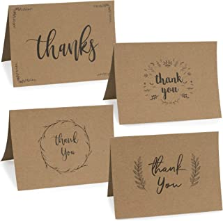 Classy Kraft Thank You Cards In Bulk - Paper Set Of 36 Thank You Notes With Black Lettering And Matching Envelopes - Perfect For Every Occasion Including Weddings, Bridal And Baby Showers