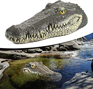 Baiwka Floating Crocodile Head, Alligator Head Decoy & Pond Float with Reflective Eyes, Floating Alligator Decoy, 13Inch Alligator Head Art Decor for Pool, Pond, Garden and Patio, Funny Pond Decor