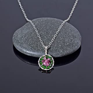 Handmade Pink Watermelon Tourmaline Pendant Necklace in Sterling Silver Wire