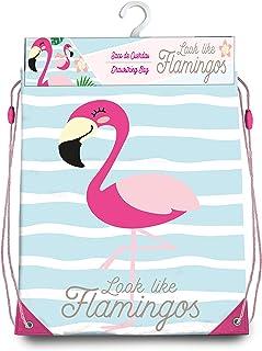 Kids Bolsa Cordones Gym Bag 40X33Cm de Flamingo Bolsa de Cuerdas Para El Gimnasio, 40 Cm, Multicolor