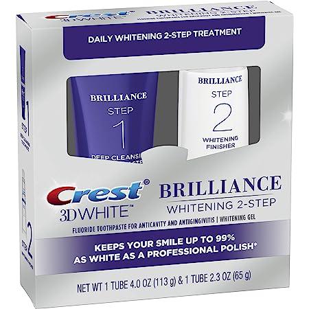 Crest 3D White Brilliance 2 Step Kit, Deep Clean Toothpaste (4oz) + Teeth Whitening Gel (2.3oz)