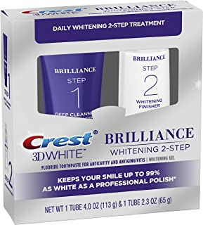 Best Crest 3D White Brilliance 2 Step Kit, Deep Clean Toothpaste (4oz) + Teeth Whitening Gel (2.3oz) Review