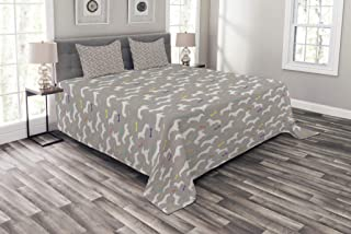 Lunarable Dachshund Bedspread, Colorful Toy Bones and House Pet Silhouettes Domestic Dogs Greyscale Backdrop, Decorative Quilted 3 Piece Coverlet Set with 2 Pillow Shams, King Size, Warm Taupe