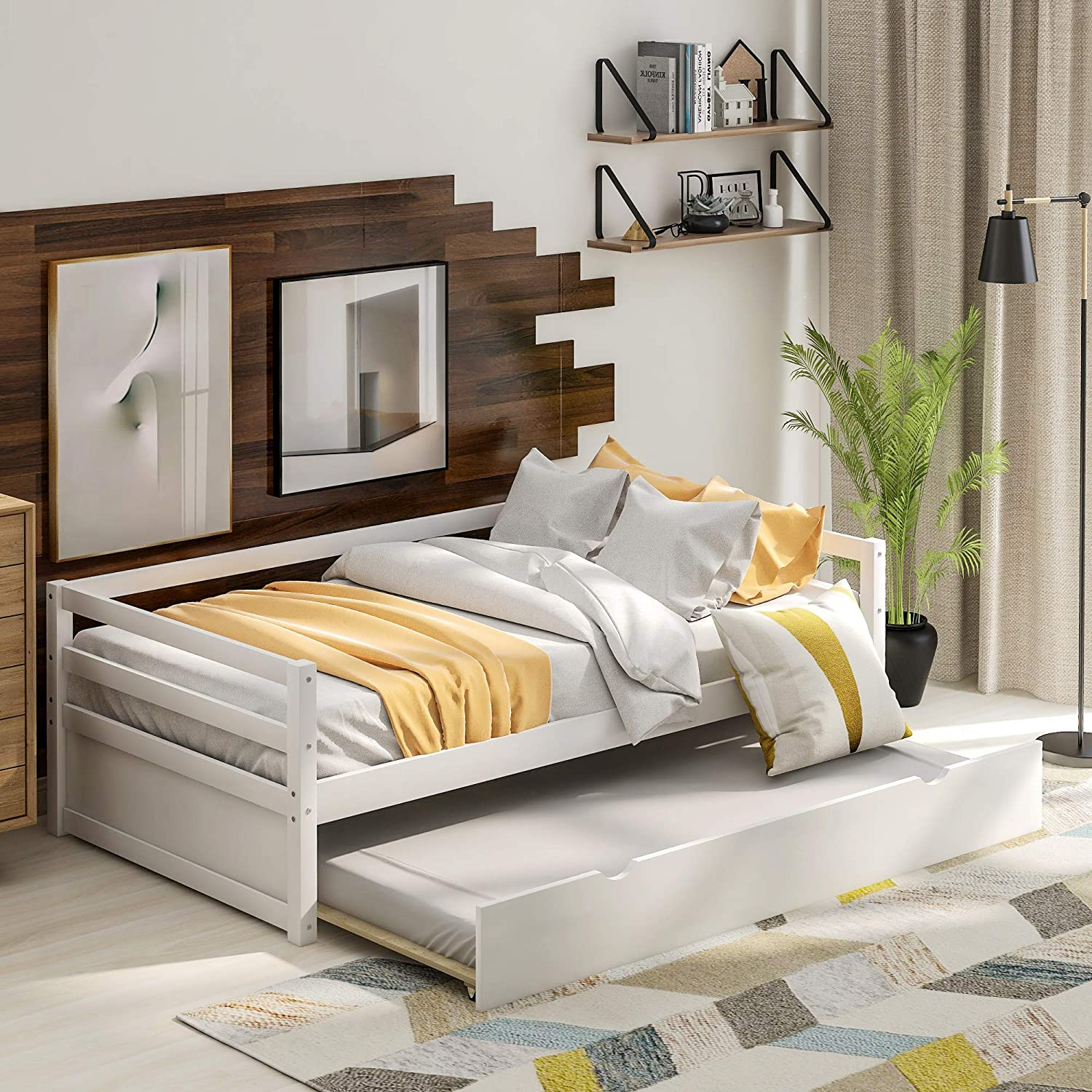 Solid Wood Frame Twin Daybed with Out Size 40% Max 68% OFF OFF Cheap Sale Tr Trundle Pull