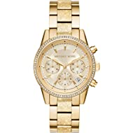 Michael Kors Women's Ritz Analog-Quartz Watch with Stainless-Steel-Plated Strap, Gold, 17.7...
