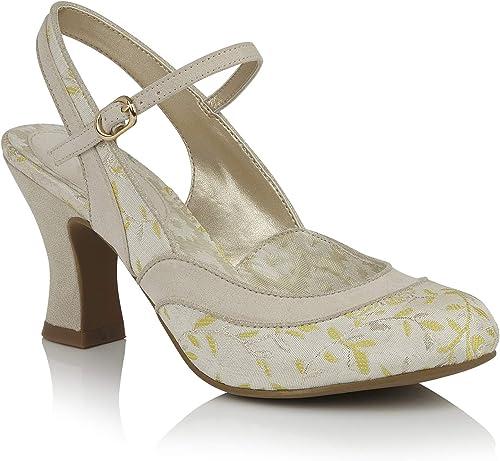 Ladies RUBY SHOO Lucia Cream Lemon Sling Back Vegan Friendly zapatos 09261-UK 7 (EU 40)