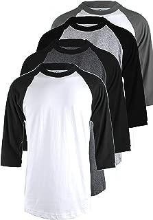 TOP LEGGING TL Men's 4 Pack 3/4 Sleeve Baseball Cotton Crew Neck Jersey Raglan Tee Shirts S to 5XL