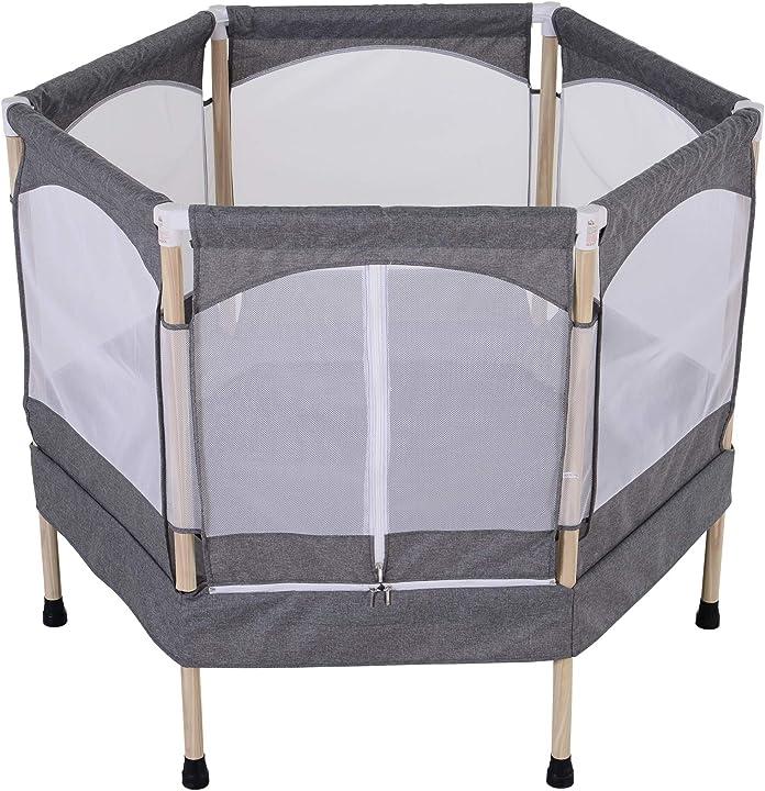 Trampolino elastico per bambini 3-12 anni (max. 80kg) con rete di protezione, grigio, 126x109x98cm IT342-010GY0631