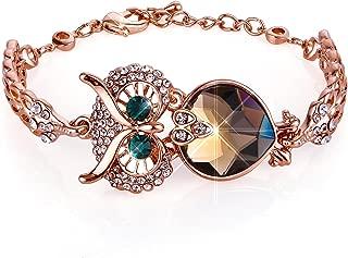 Menton Ezil Vintage Owl Charm Adjustable Bracelet Rose Gold Crystal Bracelets with Lobster Clasp Jewelry