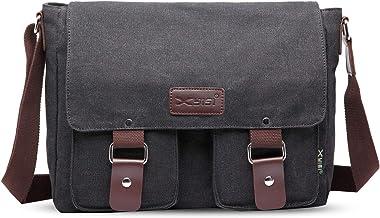 FANDARE Leinwand Messenger Bag Umhängetasche 7.9 inch iPad Tasche Schultertasche Unisex Segeltuch Tasche Arbeiten Tasche für Männer und Frauen, Herren/Damen Reise Umhängetasche Schwarz