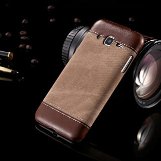 Protective Case Compatible with Samsung Compatible Samsung Galaxy J3 Business Style Demin Patchwork Design PC+PU Leather Protective Hard Back Case Cover Phone case (Color : Brown)