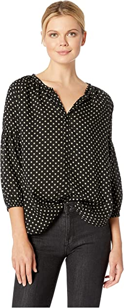 Printed Rayon Challis Notch Collar Balloon Sleeve Top