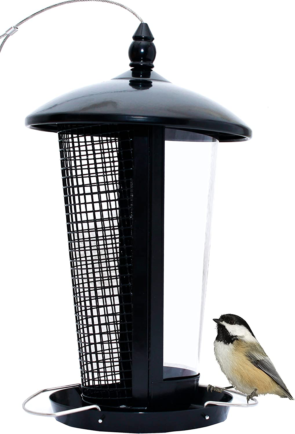 Prime Black Bird Feeder Attract More Wild Birds to Your House and Outdoor Garden Designed for All Seeds, Peanuts and Fruits Types Allows Large, Medium and Small Birds Easy to Clean and Fill Outside Hanging Decorative Feeders. Great Gift & Fun Idea