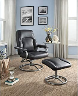 Recliner Swivel Chair and Ottoman Set, Plush Pillowed Layers for Comfort, Sturdy Metal Tube Frame, Tension Adjust Knob, Matching Vinyl on Back and Sides, Multiple Colors + Expert Guide
