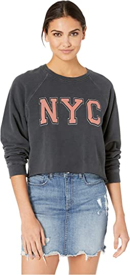 Black Label Vintage Distressed NYC French Terry Slightly Cropped Pullover