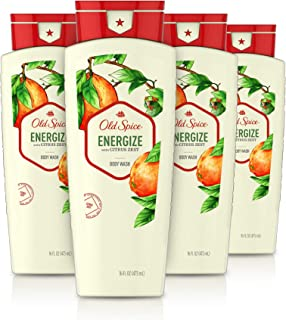 Sponsored Ad - Old Spice Body Wash for Men, Energize with Citrus Zest Scent, Inspired by Natural Elements, 16 Oz, (Pack of 4)