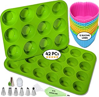 Silicone Muffin Pan Bpa Free (100%) Cupcake Baking Cups Mini 24 & 12 Regular sizes Muffin Tin Silicone Molds Set-Bonus 12 Heart cupcake liners, 7 icing tips, 20 bags.100% Healthy Silicone muffin tray