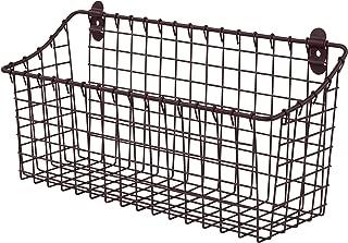 Spectrum Diversified Vintage Utility Organizer Tray Bin Wall Mount Storage Basket, Extra Large, Bronze