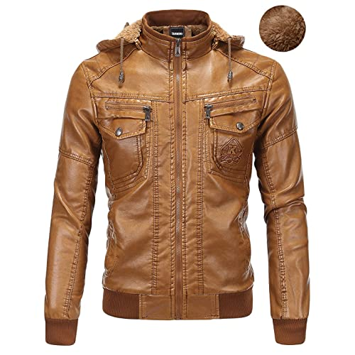 e9a81a4103a Tanming Men s Plus Velvet Motorcycle Pu Faux Leather Jacket with Removable  Fur Hood