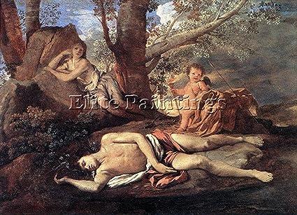 Nicolas Poussin Echo Narcissus Tableau Reproduction Huile Sur Toile Peinture 60x90cm Qualite Musee Amazon Fr Cuisine Maison