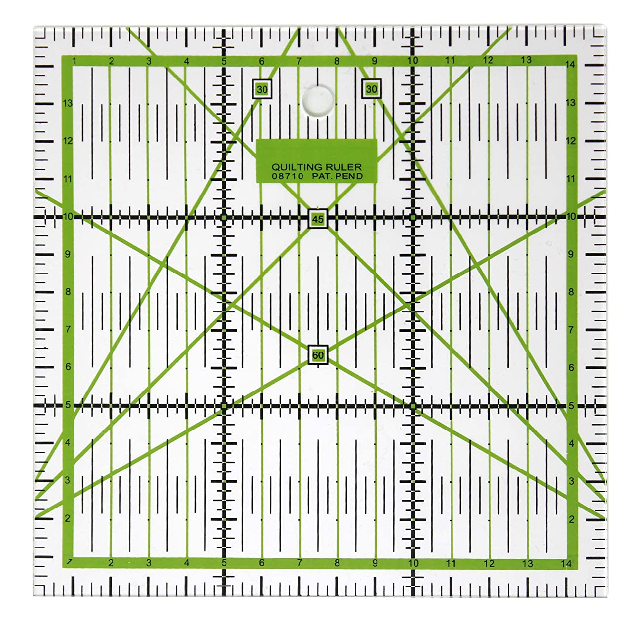VViViD High Precision Acrylic Plastic Fabric & Crafting 15 Centimeter by 15 Centimeter Green Square Ruler Template