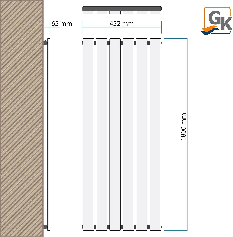 Design Paneelheizk/örper Heizk/örper Badheizk/örper Anthrazit mit Mittelanschluss Handtuchstange Edelstahl alle Gr/ö/ßen 566 Watt nach EN442