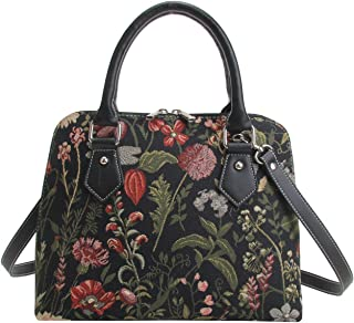 Ladies Tapestry Top Handle Handbag Shoulder Bag with Garden Flower by Signare
