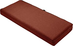 Classic Accessories Montlake Water-Resistant 42 x 18 x 3 Inch Outdoor Bench/Settee Cushion, Patio Furniture Swing Cushion, Heather Henna Red