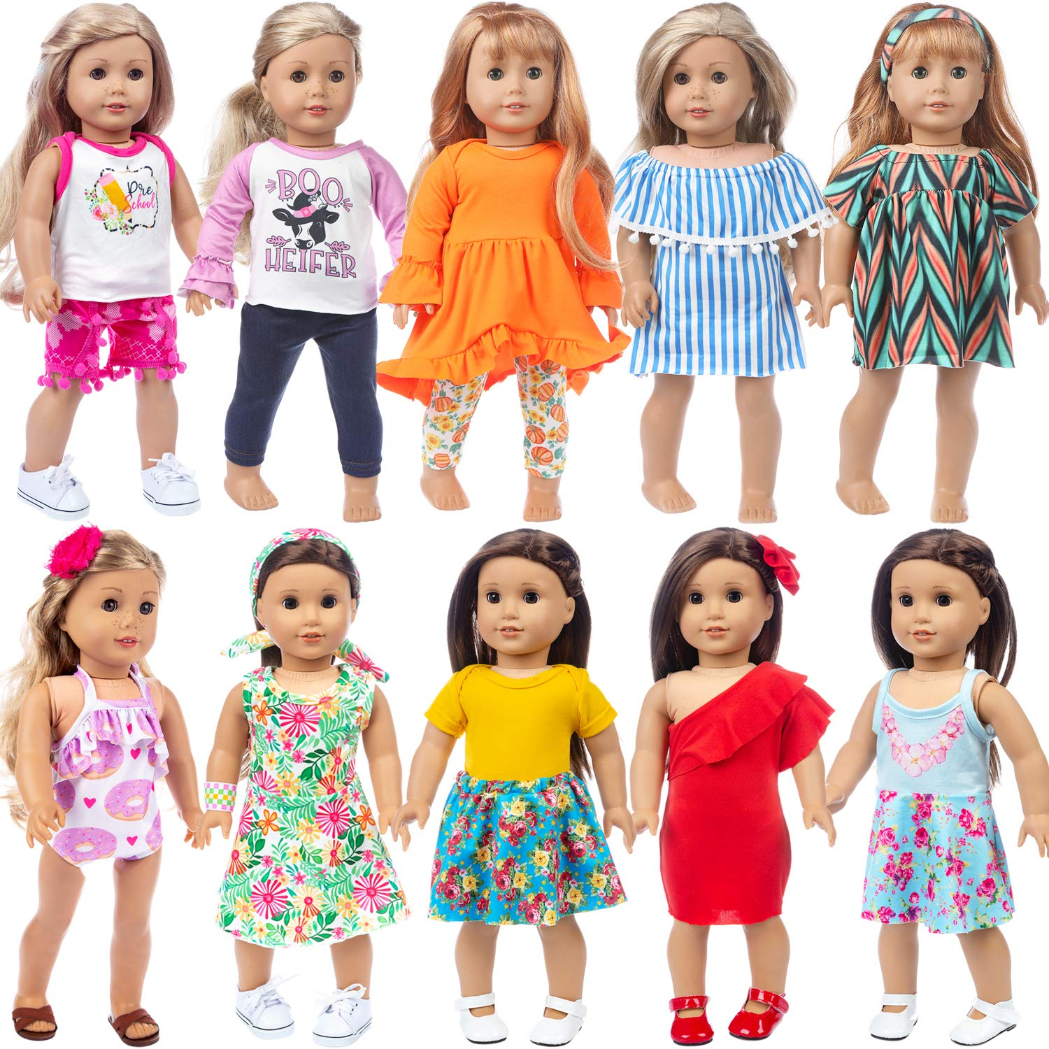 1 Set of Off Shoulder Doll Clothes 1 Dress with Tight and Hair Clip for 18 Inch Doll Clothes Accessories ZITA ELEMENT 2 Set Fashion Doll Clothes and Dress for American 18 Inch Girl Doll Outfits