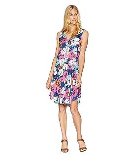 Sleeveless Fuchsia Poppy Print Dress