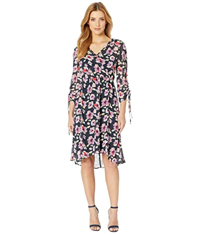 B Collection by Bobeau Sadie Ruched Sleeve Dress (Ink Painted Floral) Women